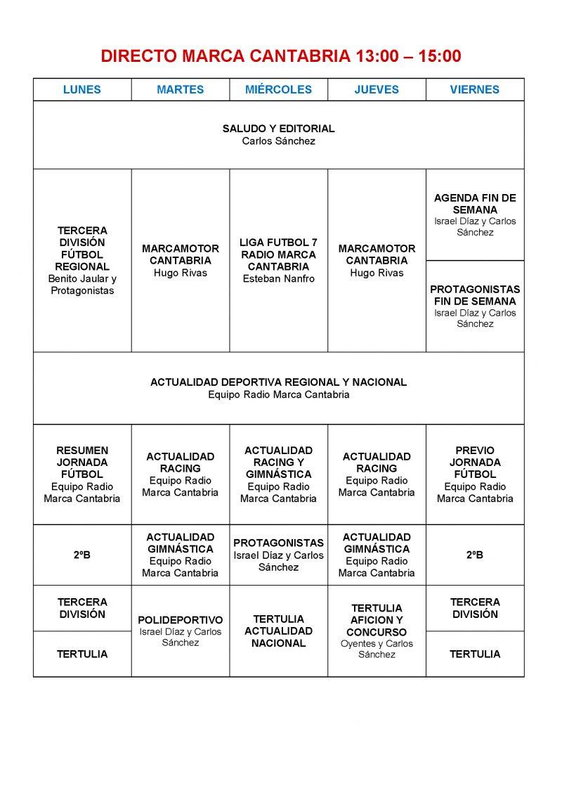 Programación Radio Marca Cantabria 2018-2019